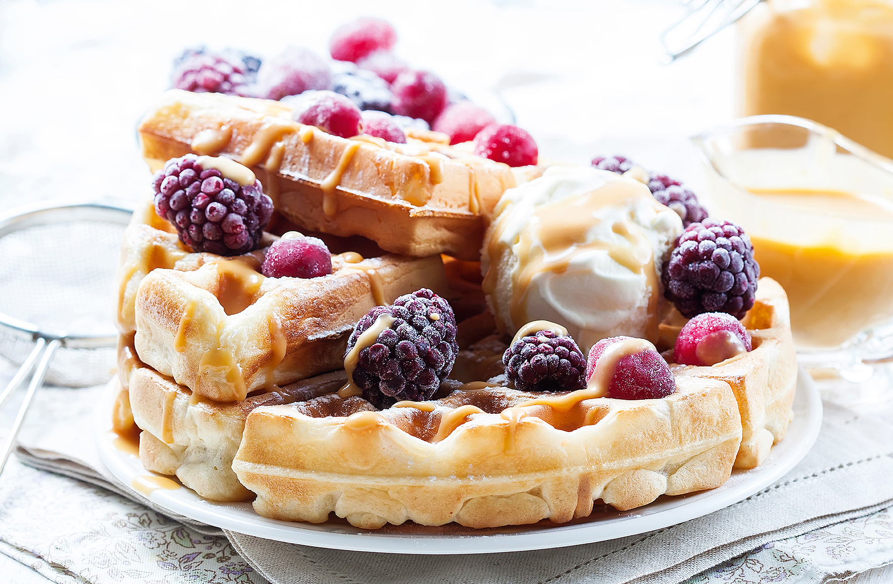 Belgian waffles with caramel and ice cream